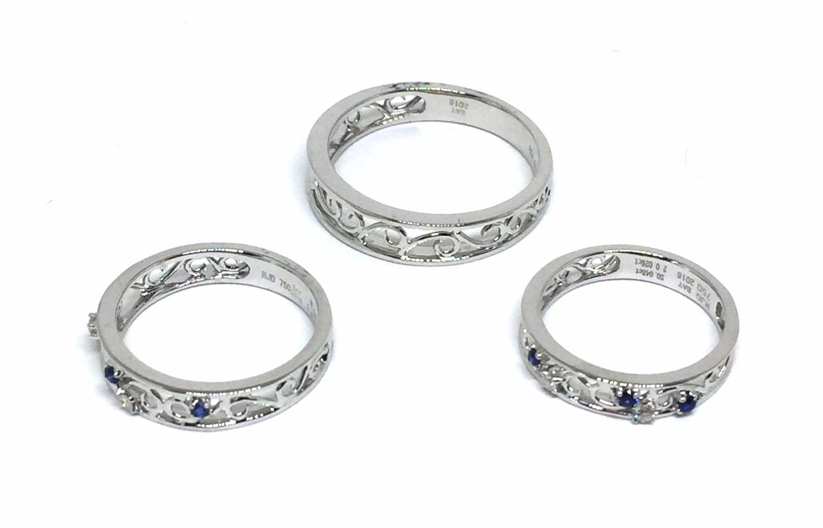 18K Diamond Sapphire FamilyRing