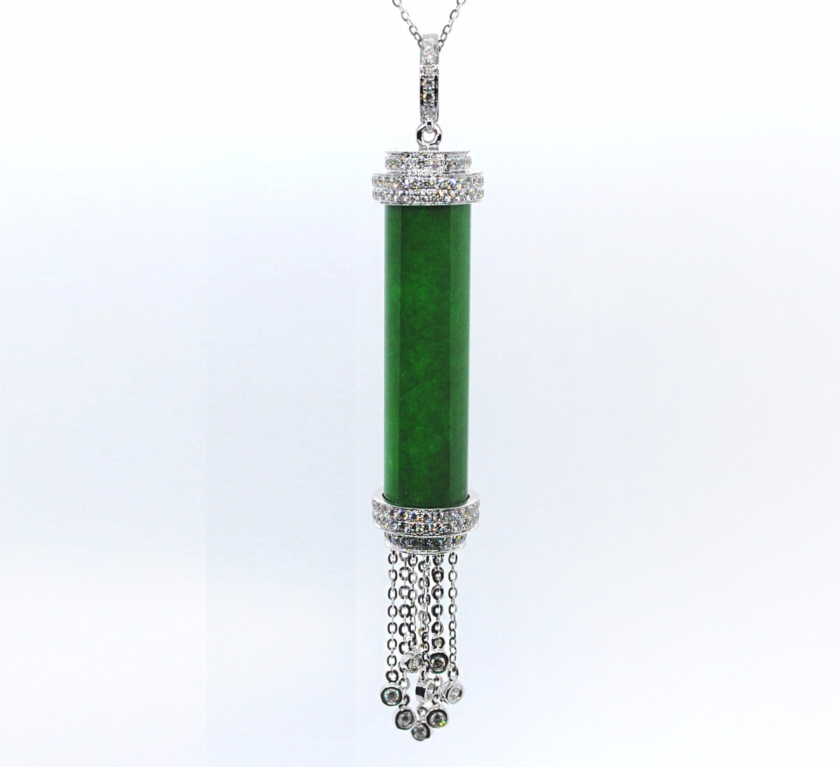 18K Diamond Green JadePendant